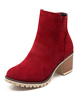 Women's Shoes Fleece Fall/Winter Bootie/Round Toe Boots Office & Career/Casual Chunky Heel Zipper Black/Brown/Red/Beige