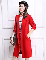 Women's Casual/Daily Simple Trench Coat,Solid Shirt Collar Long Sleeve Spring Red / Black / Gray / Yellow Wool Medium