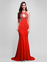 Formal Evening Dress Trumpet / Mermaid Halter Sweep / Brush Train Jersey with Beading