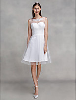 Lanting Bride A-line Wedding Dress Knee-length Scoop Tulle with Appliques / Criss-Cross