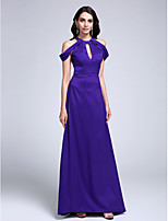 Formal Evening Dress Sheath / Column Jewel Sweep / Brush Train Stretch Satin with