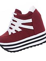 Damen-High Heels-Lässig-Kunstleder-Keilabsatz-Absätze-Schwarz / Rot
