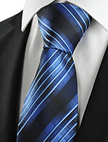 KissTies Men's Striped Blue Black Microfiber Tie Necktie For Wedding Party Holiday With Gift Box