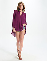 Women's Casual/Daily Street chic Fall Blouse,Solid V Neck Long Sleeve Purple Polyester Medium