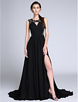 TS Couture® Formal Evening Dress A-line Jewel Sweep / Brush Train Chiffon / Lace with Lace / Draping / Ruching