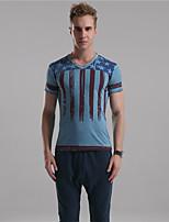Herr D® Herren V-Ausschnitt Kurze Ärmel T-Shirt Blau / Braun / Champagner-5