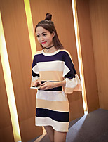 Women's Going out Simple Long Pullover,Striped Blue / Yellow Round Neck ¾ Sleeve Cotton / Nylon Fall Medium