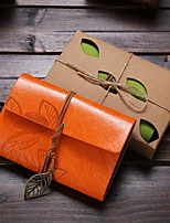 Small Leather Strap Leaves Notepad(Color Random)