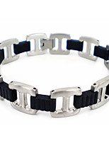 Fashion Men's Silver-black 316L Stainless Steel Chain Bracelets