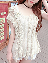 Women's Going out Cute Regular Cardigan,Solid Beige Round Neck Short Sleeve Rayon Summer Thin