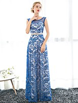 Formal Evening Dress Sheath / Column Scoop Floor-length Lace with Sash / Ribbon