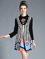 Plus Size Womens Autumn Elegant Embroidered Patchwork Stripe Long Sleeve A-Line Dress