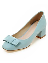Women's Shoes Fleece Summer / Fall Heels / Square Toe Heels Office & Career / Casual Chunky Heel Bowknot Blue / Gray