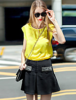 Women's Going out Cute Summer Set Skirt,Solid Round Neck Short Sleeve Yellow Linen / Polyester Opaque