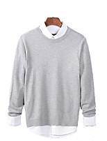Men's Solid Casual / Sport Pullover,Rayon / Acrylic Long Sleeve Black / Blue / Orange / Beige / Gray