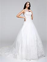 Lanting Bride A-line Wedding Dress Chapel Train Bateau Tulle with Appliques