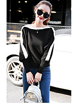 Women's Going out /  Cute Regular Pullover,Color Block Black Boat Neck Long Sleeve Cotton Spring / Fall Medium