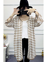 Women's Going out / Cute Long Cardigan,Striped Black / Gray Round Neck ¾ Sleeve Others Spring / Fall Medium