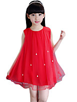 Girl's Going out Solid Dress,Rayon Summer Red