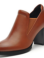 Women's Shoes Synthetic Spring / Summer/Fall / Winter Heels Heels Office & Career / Casual Chunky Heel Black/Brown
