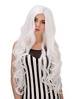 Fashion Women Cool White Curly Synthetic Cosplay Synthetic Wig