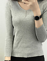 Women's Casual/Daily Simple Regular Pullover,Solid White / Black / Brown / Gray Deep V Long Sleeve Cotton Spring Medium