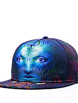 Hip Hop Women Men Street Dance Stripe Face Print Adjustable Patchwork 3D Baseball Cap