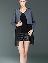 Boutique S Casual/Daily Simple Spring / Fall Cloak/Capes,Patchwork Round Neck Long Sleeve Gray Cotton / Polyester