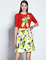 Mary Yan & Yu  Women's Going out Sophisticated Summer Set,Floral Round Neck Short Sleeve Red Cotton / Spandex Medium