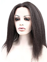 Indian Human Virgin Hair Natural Color Yaki Kinky Straight Front Lace Wig With Baby Hair 10-24 Inch