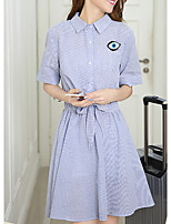 Women's Plus Size / Going out /Cute Shirt Dress,Striped Shirt Collar Above Knee ½ Length Sleeve Blue Cotton Summer