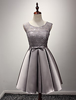 Knee-length Satin Bridesmaid Dress A-line Jewel with Sash / Ribbon