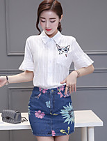 Women's Casual/Daily Simple Summer Set Skirt,Embroidered Shirt Collar ½ Length Sleeve White Rayon Medium
