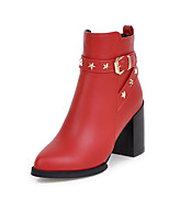 Women's Shoes Fall / Winter Fashion Boots / Pointed Toe Boots Dress Chunky Heel Zipper Black / Yellow / Red