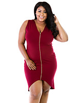 Women's V Neck Plus Size / Club Solid Asymmetrical Sleeveless Sexy Bodycon Dress