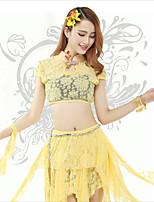 Tops(Amarillo,Encaje,Danza del Vientre) -Danza del Vientre- paraMujer Encaje Entrenamiento