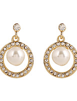 Fine Jewelry European Style High-Grade Pearl Rhinestone Zinc Alloy Earrings