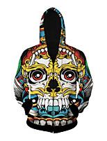 3D  Hoodie Long Sleeve Colourful Skull Printing Clothing