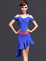 Latin Dance Dresses Women's Performance Rayon / Chinlon Ruched 2 Pieces Dark Purple / Fuchsia / Royal Blue Short Sleeve
