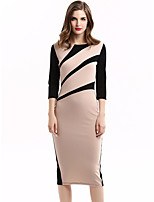 Women's Plus Size / Casual/Daily / Work Street chic Sheath Dress,Color Block Round Neck Midi ¾ Sleeve