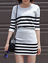 Women's Casual/Daily Street chic All Seasons T-shirt Skirt,Striped Round Neck ½ Length Sleeve White Cotton Medium