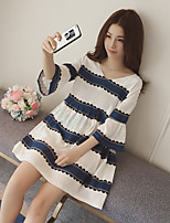 Maternity Casual/Daily Simple Loose Dress,Striped V Neck Above Knee ½ Length Sleeve White Linen Summer Inelastic Opaque
