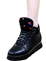 Women's Flats Spring / Fall Round Toe PU Casual Flat Heel Others / Lace-up Black / Red / White Others