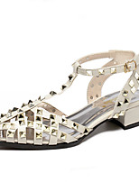 Women's Sandals Summer Sandals / Pointed Toe PU Casual Chunky Heel Rivet Black / Red / White Others