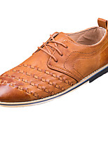 Men's Oxfords Spring / Fall Round Toe PU Office & Career / Casual Flat Heel Others / Lace-up Brown / Gray Others