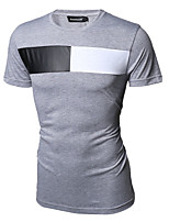 Men's Solid Casual T-Shirt,Cotton Short Sleeve-White / Gray