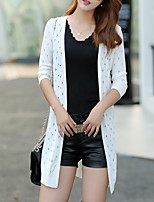Women's Casual/Daily Street chic Long Cardigan,Solid Blue / White / Green V Neck ¾ Sleeve Cotton Fall Thin
