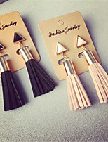 High Quality Korean Fashion Geometric Triangle Tassel Earrings Faux Suede Fabric Long Dangle Earrings For Women Gifts