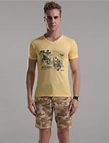 Mr D® Men's V Neck Short Sleeve T Shirt Pink / Yellow / Light Gray-8
