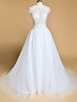 A-line Wedding Dress Court Train Jewel Tulle with Appliques / Beading / Button / Sequin